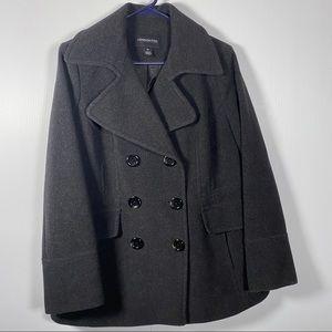 LONDON FOG Wool/Polyester PEA COAT. Black SizePL